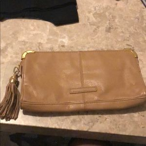 Bcbg tan tassel clutch